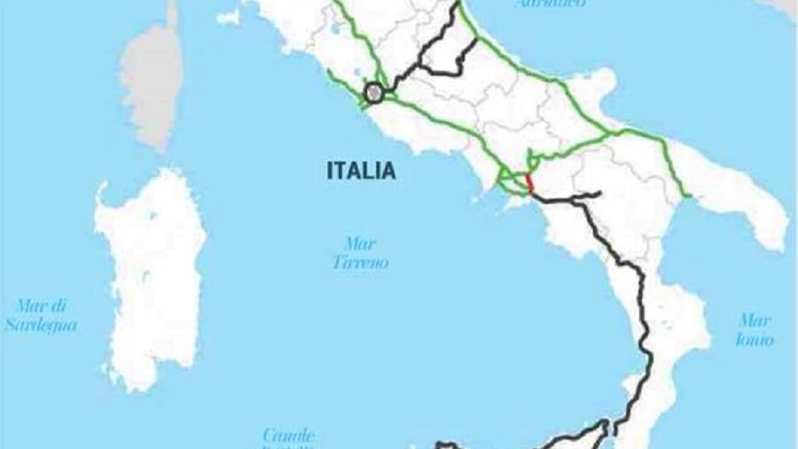 Italia Cartina Autostradale.L Italia Non Finisce A Bari Ma Per La Rete Autostradale Si